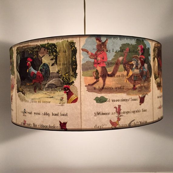 Henny Penny - children's hanging pendant light shade. Upcycled, vintage charm for kids.