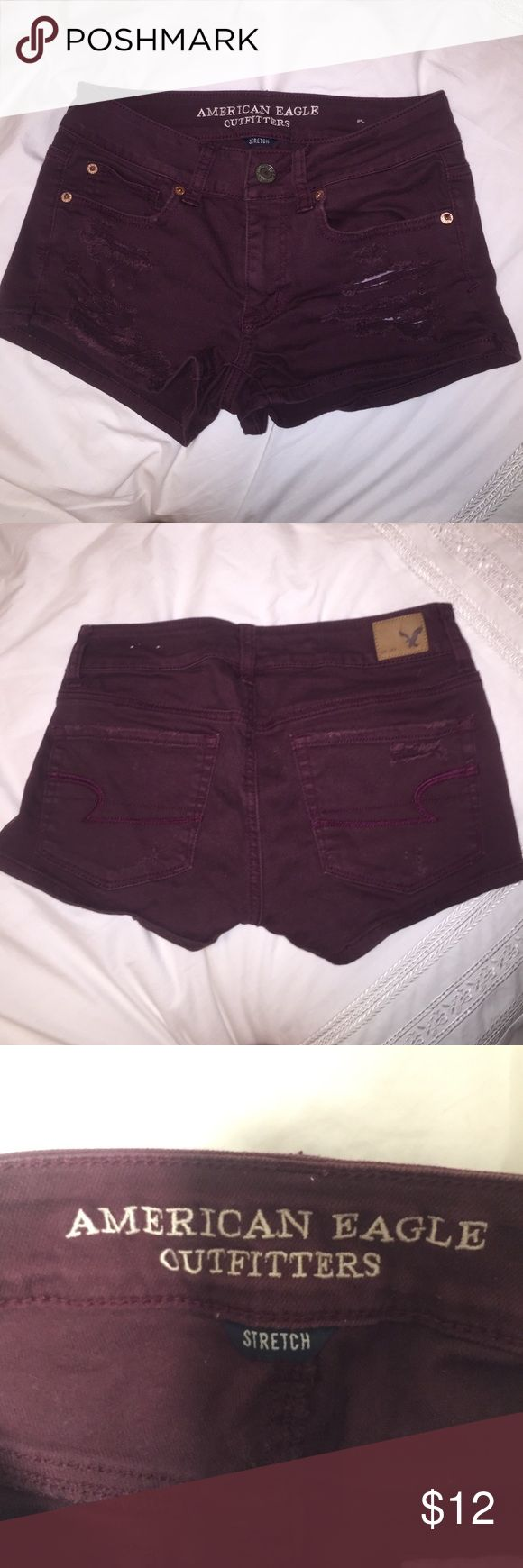 American Eagle Burgundy Shorts Shortie shorts from AEO. Not high-waisted. Barely worn! Save on my end of summer sale!! American Eagle Outfitters Shorts