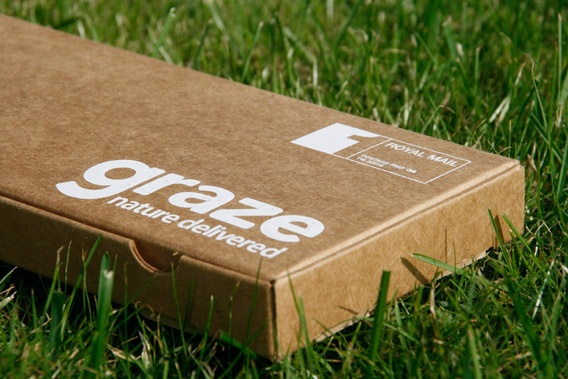 Graze packaging (healthy eating by post). How great this is for busy on the go people. Especially office workers.