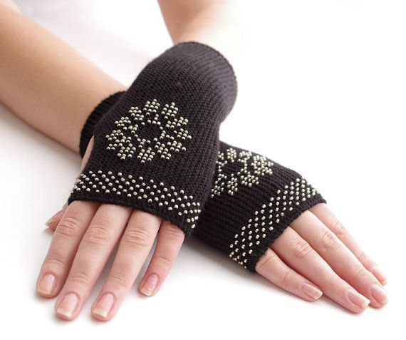 Very soft and cozy slim PURE merino wool beaded fingerless gloves/wrist warmers in black with a snowflake motif