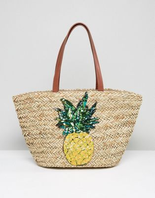 Glamorous Straw Beach Bag With Pineapple Embroidery