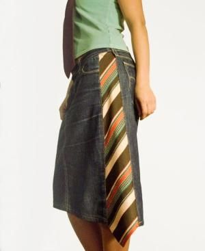 Original design by Larut.eu - Added tie to a pair of jeans upcycled to a skirt by nicole