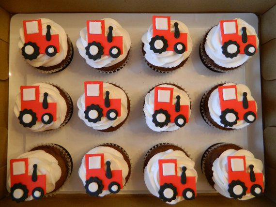 Edible Fondant Tractors Cupcake And Cake By CakeMakesAPartyShop 1399