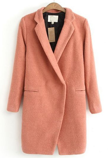 Pink Lapel Long Sleeve Simple Design Woolen Coat