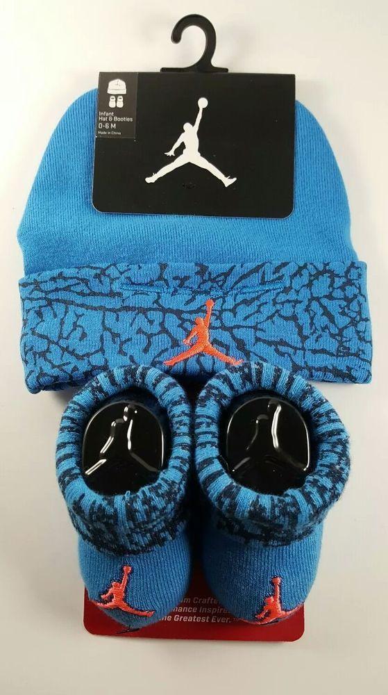 a7a585a4a00 Nike Air Jordan Boys Size 0-6 Months Hat   Booties Set Blue Black Orange  Infant  Nike  Casual