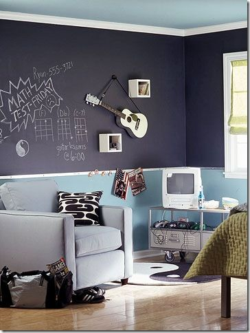 I'm going to paint my office with chalkboard paint so I can do math on the walls.  I love the half wall with the light blue paint -- it makes the room look much brighter than the solid black wall.