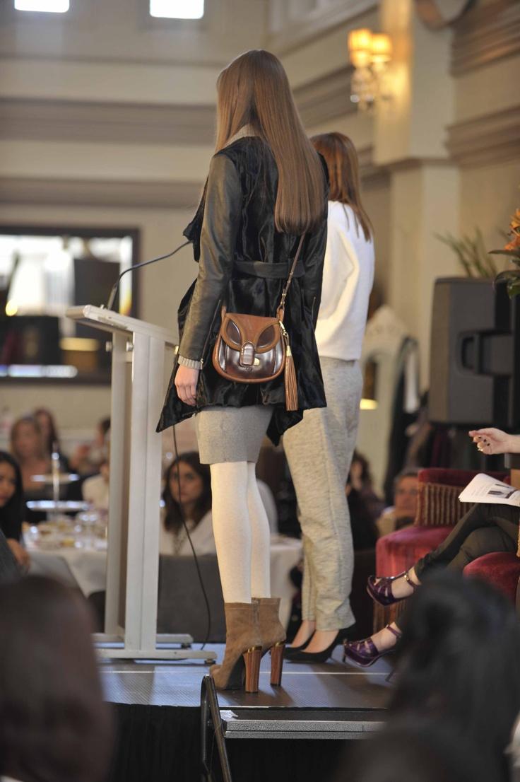 Trend: Neutrals  Model wears Karen Millen dress & coat, Mimco bag, Sportsgirl tights and Nine West Australia heels.   #qvb #karenmillen #sportsgirl #ninewest #fashion #leather