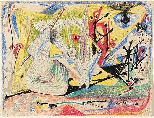 Untitled  Artist:Roberto Matta (Chilean, Santiago 1911–2002 Civitavecchia, Italy) Date:1937 Medium:Wax crayon, brush and pen and ink, and pencil on paper Dimensions:9 1/2 x 12 1/4 in. (24.1 x 31.1 cm) Classification:Drawings