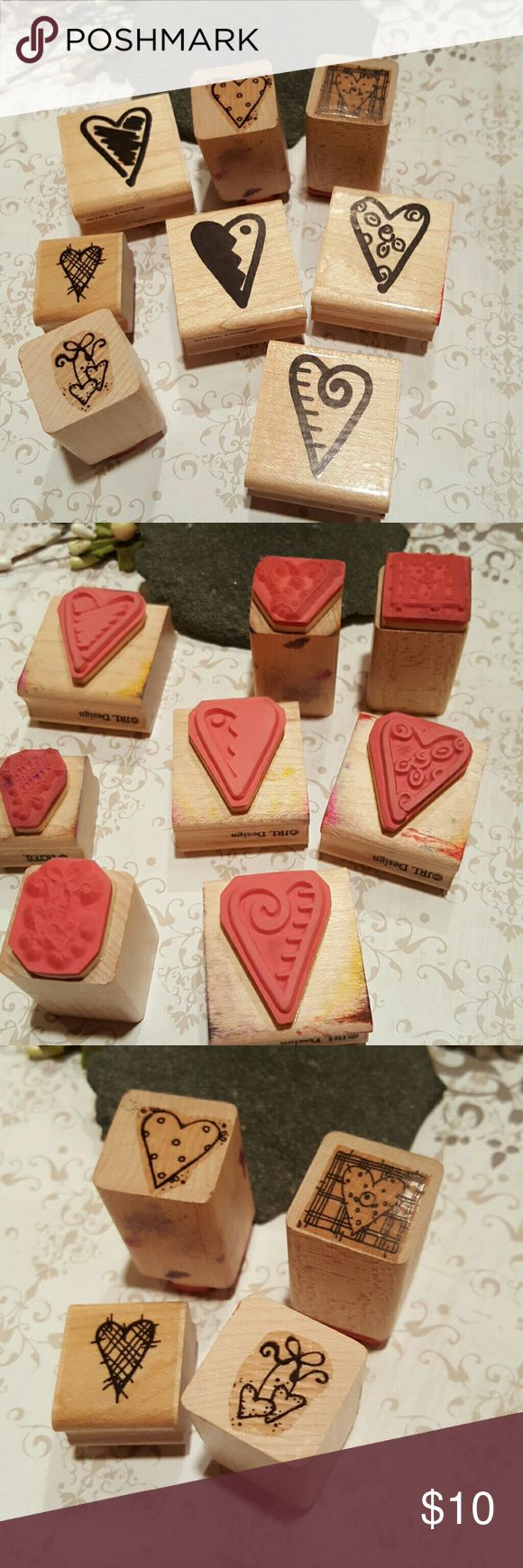 "Lot of Heart Rubber Stamps Lot #8, Eight gently used D.O.T.S rubber stamps. All stamps very well cared for and stored appropriately. Four heart designs are 1.5x1.5 and the others are 1"".  Check out my closet for other rubber stamps. I am willing to bundle and separate the only ones you want.   Bundle discount available. Nonsmoking home. All reasonable offers accepted. D.O.T.S  Other"