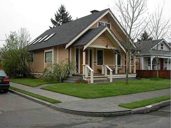 Charming updated bungalow on corner lot with duplex potential. Light and bright with vaulted ceilings and skylights and open layout. #zillow