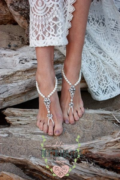 Beach Wedding Barefoot SandalsPearl Barefoot by deformatas on Etsy