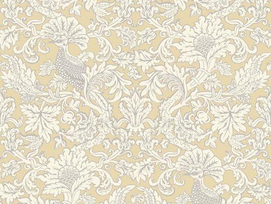 Обои для стен с расписным узором с птицами на ветвях в желто-белых оттенках