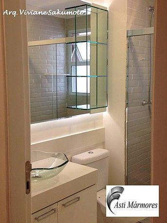 asti-marmores | Banheiro Lavatório em Branco Prime.  Arquiteta Viviane Sakumoto. #astimarmores #banheiro #brancoprime #vivisakumoto