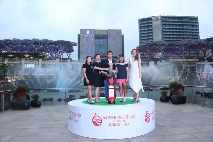 The vice-chairman of Mission Hills Group Mr Tenniel Chu welcomes star players from the World Ladies Championship to the Mission Hills Haikou resort on the tropical island of Hainan in China.  They are pictured at Mission Hills Centreville where they were able to enjoy one million square metres of shopping dining entertainment and culture plus hotels by world-leading brands Ritz-Carlton Renaissance and Hard Rock. @LETGolf