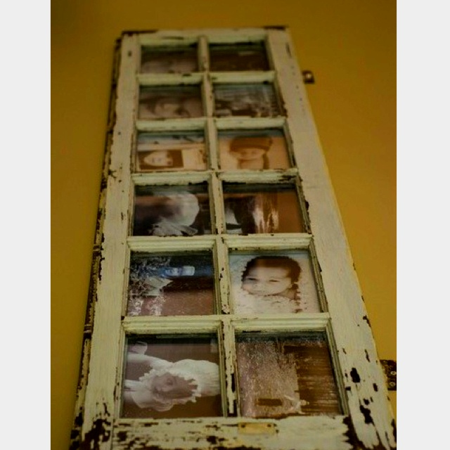 Love this idea for a window as a picture frame...repurposing