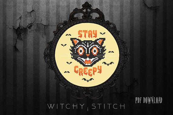Vintage Halloween Cat Stay Creepy Cross Stitch Pattern