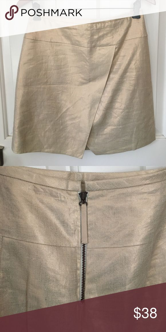 JCrew Gold Linen Skirt NWT This Jcrew linen skirt is lightweight enough for warm days, but dressy enough to wear to work or dinner. J. Crew Skirts Mini