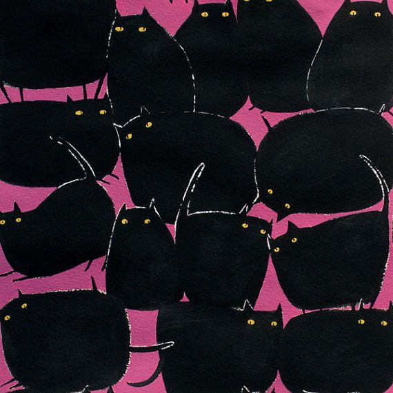 Magic Meows in Purple by Alexander Henry  1 Yard  by Owlanddrum, $10.50 Halloween Fabric Black Cats