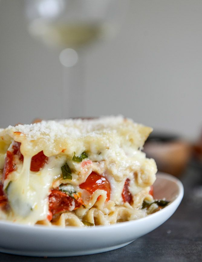 White pizza lasagna.