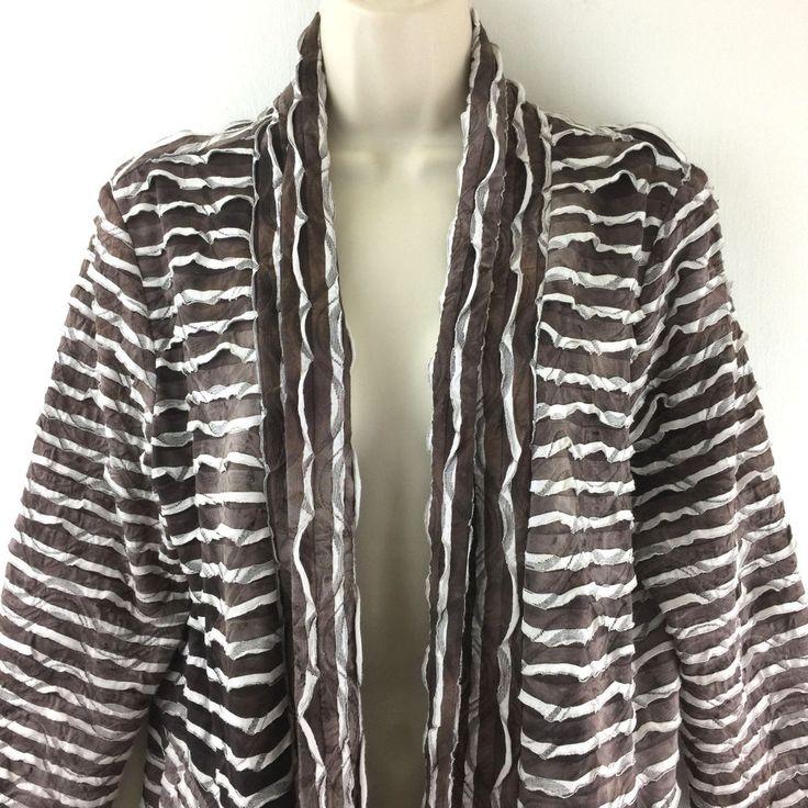 Frank Lyman Cardigan Jacket 12 Tiered Ruffle Open Asymmetrical Boho Brown Beige #FrankLyman #Cardigan #Casual