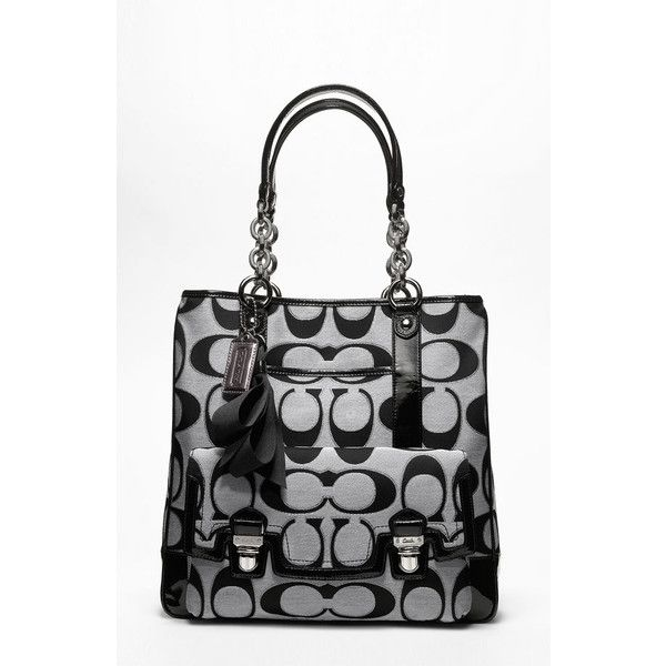 COACH POPPY SIGNATURE SATEEN TOTE   Nordstrom ($358) ❤ liked on Polyvore featuring bags, handbags, tote bags, poppy handbags, coach tote bags, handbags totes, poppy purse and poppy tote