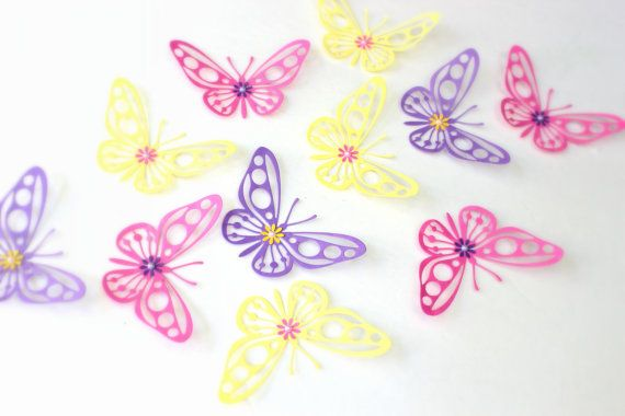 Purple Yellow Pink Butterflies 3d wall art Home by MyDreamDecors, $16.00