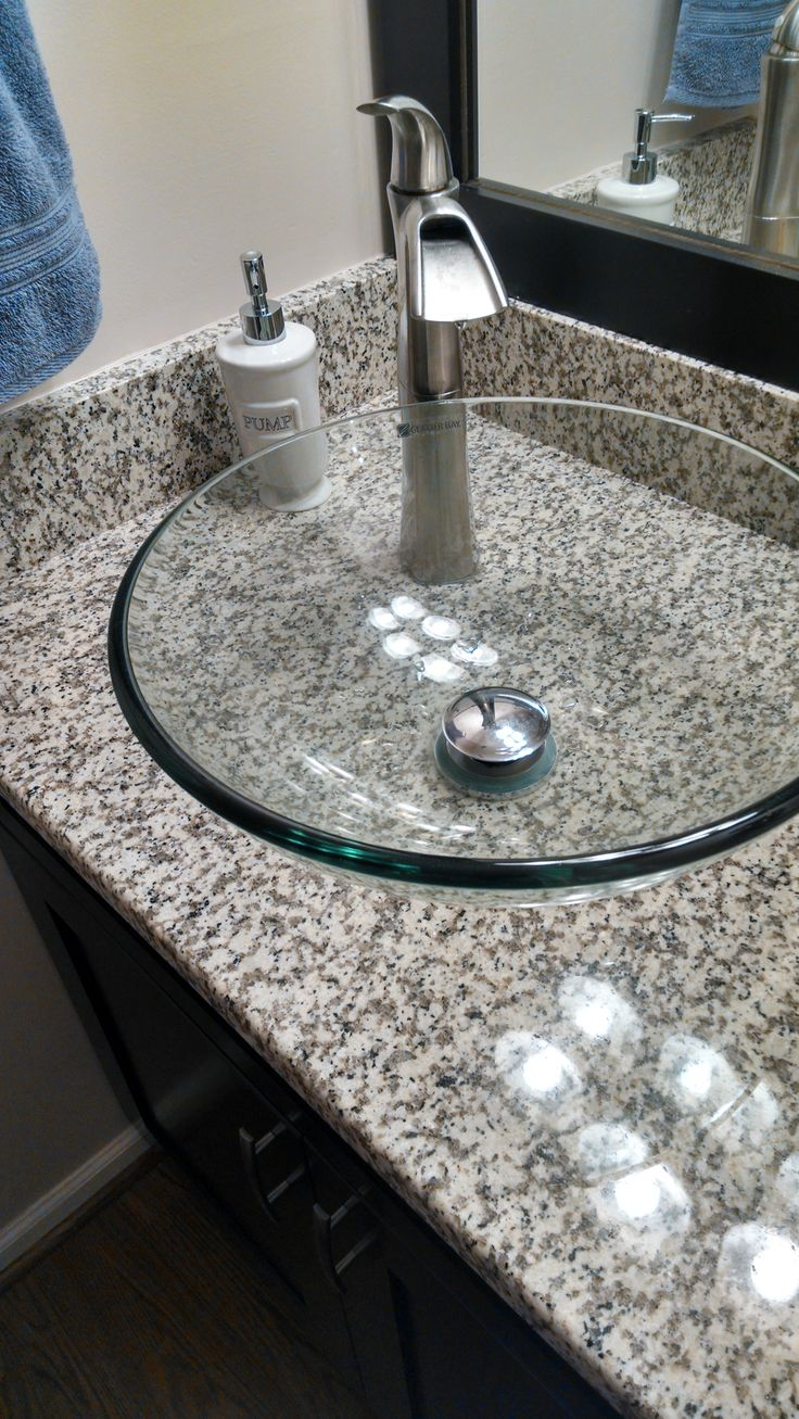 Espresso Vessel Vanity with white sands luna pearl