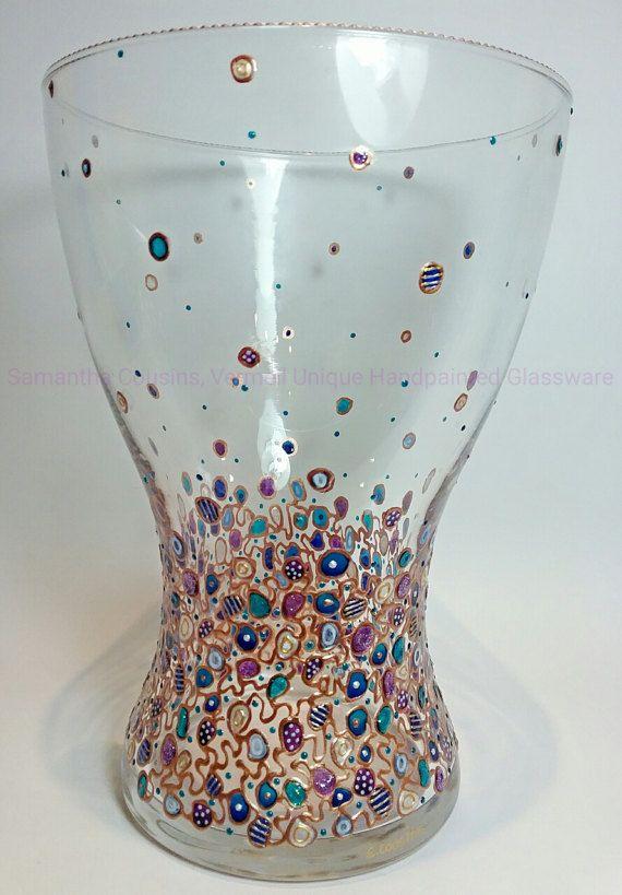 Vase en verre, à la main peint, abstrait Design, décoratif, verre teinté, nouvelle maison, anniversaire, mariage, anniversaire, fiançailles, cadeau de retraite