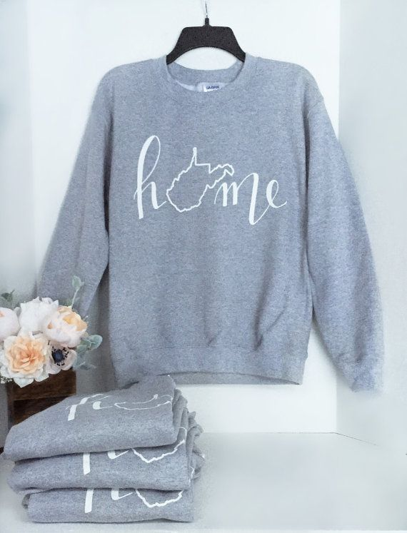 West Virginia Home Gray Crewneck Sweatshirt // Hand Lettered by Home Brewed + Co. | Modern Calligraphy | WV apparel | Clothing | WVU | Grey lightweight sweatshirt