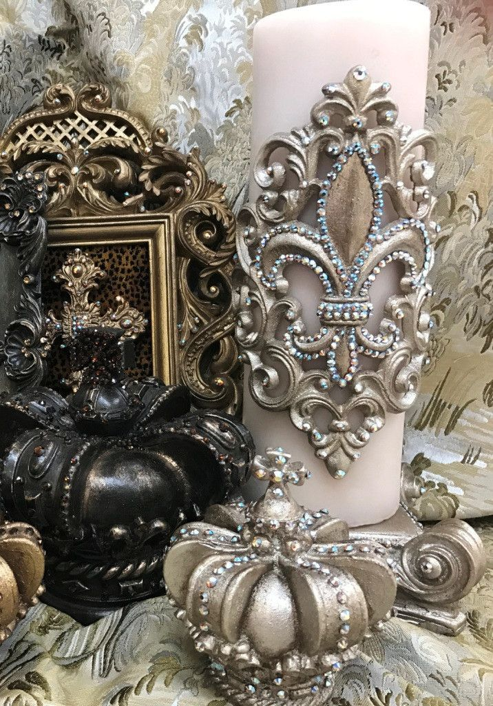 Sir Oliver's Luxury Home Decor by Reilly-Chance Collection; candles, candle base, jeweled applique, designer picture frames, wall art and tabletop accessories.