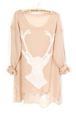 Khaki Deer Distressed Long Sleeve Jumper - Sheinside.com