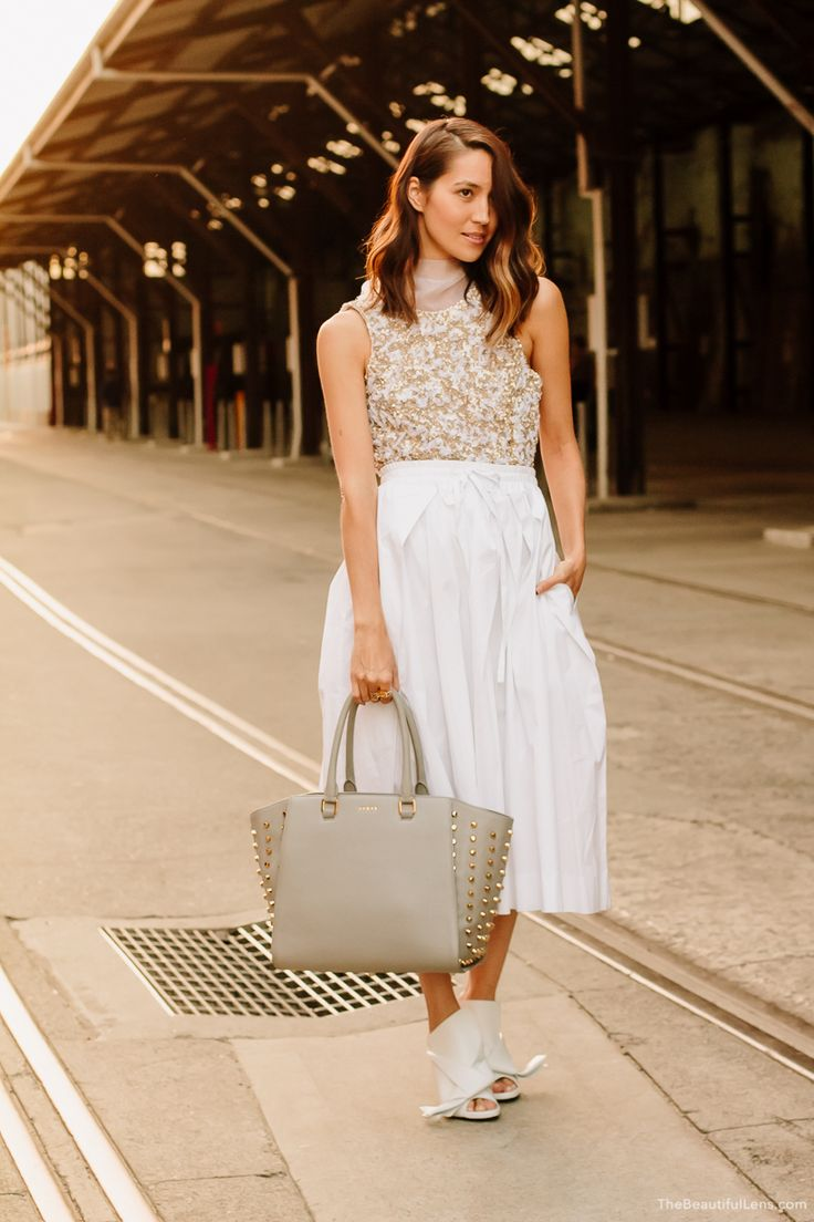 Aje Lumiere Dress and bow under a Gary Bigeni skirt + AVGVS Tote // The Style Bk Emily Highfield // The Beautiful Lens