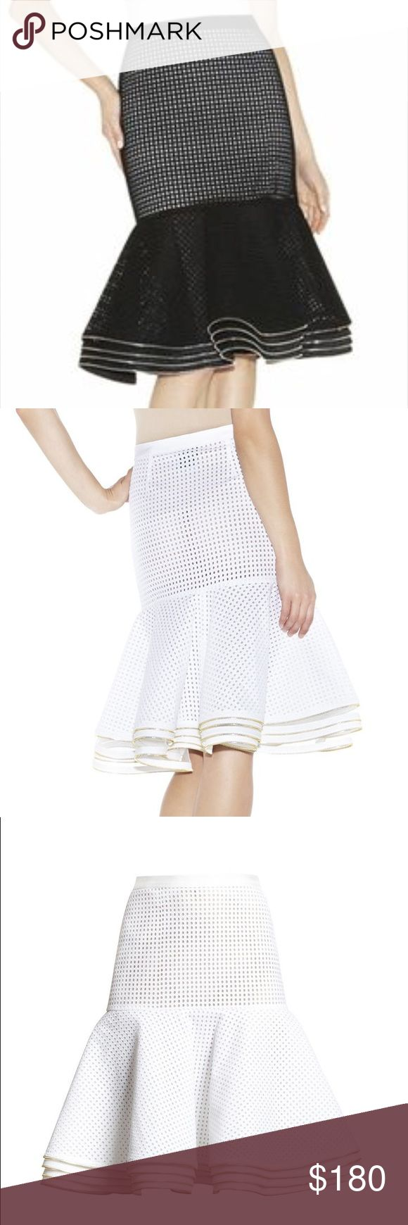 """Herve Leger midi peplum eyelet circle skirt xxs Herve Leger Retails $990 Size xxs - see last photo for size conversion. Lay flat waist is 13"""". 25"""" appx. length. **skirt for sale is BLACK. White photos are same style.** High-rise waist. Allover diamond-eyelet pattern. (Sheer look; slip may be preferred for styling.)  Tiered, skirted hem with metallic zipper trim.  Concealed side-seam zipper with hook-and-bar closure.  Eyelet: Cotton. Novelty: Rayon, Nylon, Spandex. Woven: Polyester.   New…"""