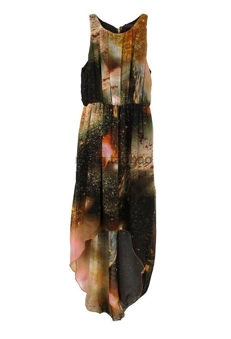 Brown Galaxy Print Chiffon Hi-Low Dress