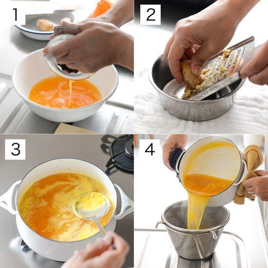 材料(出来上がり量:700cc) オレンジの搾り汁(100%オレンジジュースでもOK) … 400cc レモン … 1個 生姜 … 100g グラニュー糖 … 300g ・今回はオレンジ2コ、デコポン2コ、レモンの絞り汁を合わせると400ccになりました。 ・しょうがは新しょうがでも作れます。 作り方 [1]オレンジ類を搾る。 [2]生姜をすりおろす。 [3]鍋に[1]と[2]とグラニュー糖を合わせ、一度沸騰させ、弱火にしてアクを取りながら2分加熱する。 [4]ざるで漉し、粗熱をとる。