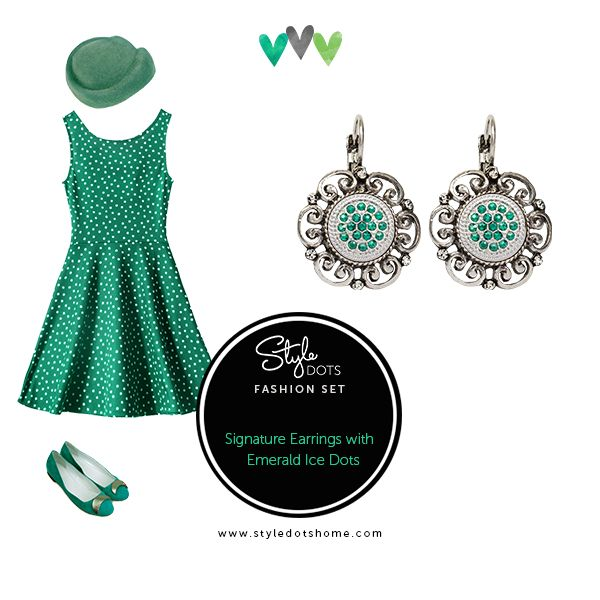 The green crystals in our Emerald Ice Dots look lovely in the Style Dots Signature Earrings.