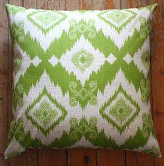 ikat green outdoor cushions