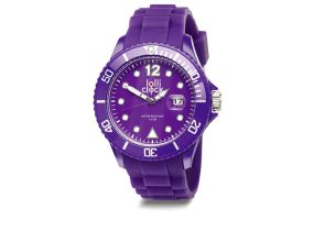 Purple Lolliclock Watch with Date. 44mm Polycarbonite case and silicon  strap, printing dial up index, 5ATM 3 hands date movement PC32. Buy online at www.lolliclock.com.au