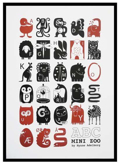 Mini Zoo ABC - Plakat med alfabetet - Tinga Tango Designbutik. Poster with animals and letters - alphabet - graphic - A new Danish design brand at Tinga Tango Designshop. Interior Shop - Interior - Children - Children - Toys - Toys - Boutique - Design - Art - Webshop - Cheap Shipping - Games - Games