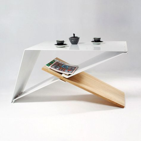 Designers coffe table, aluminium and oak wood, modern design, unique furniture, modernism inspiration, one of a kind, loft industrial piece by SmagaProjektanci on Etsy