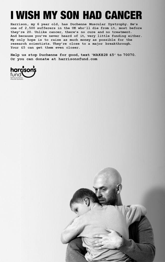 I wish my son had cancer - Gold Award for 'Print Ad'