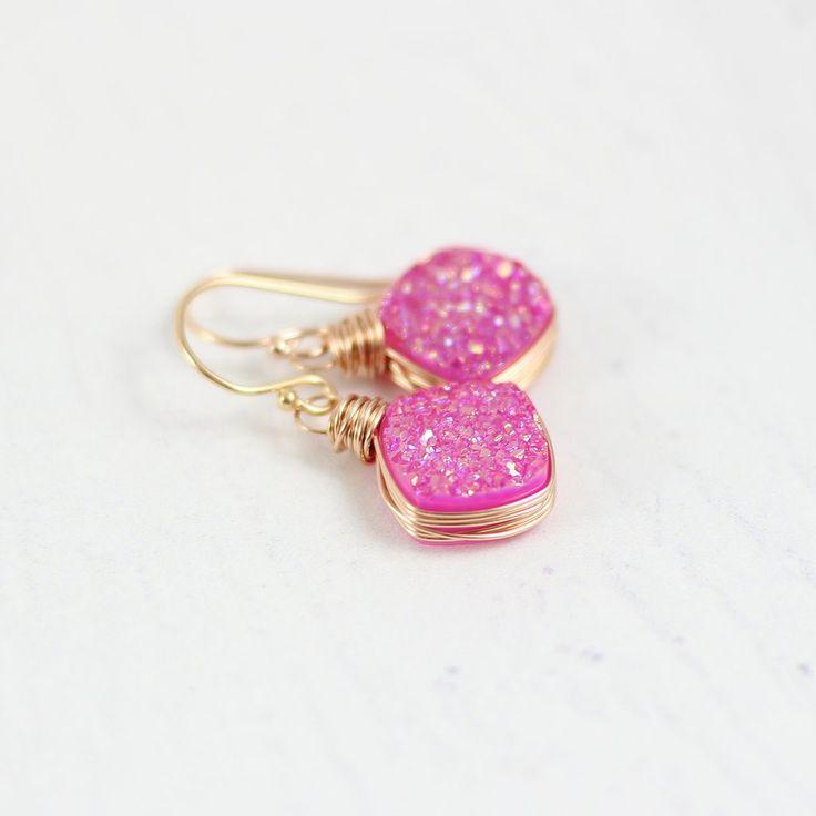 HOT PINK DRUZY ROSE GOLD DANGLE EARRINGS | Earrings | Necklace | Jewelry | Gemstone Jewelry | #gemstone #druzy #gemstonejewelry #jewelry #handmadejewelry | www.starlettadesigns.com