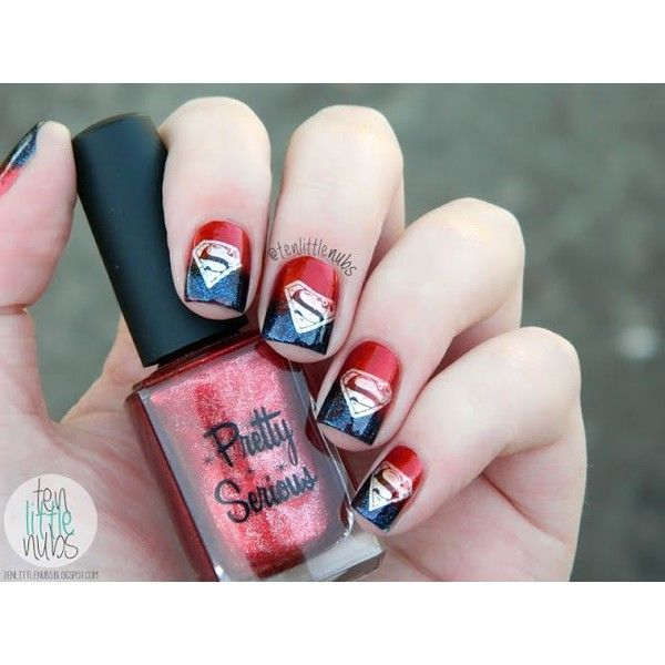 Superman nails! | Nail Art | Pinterest ❤ liked on Polyvore featuring beauty products, nail care and nail treatments