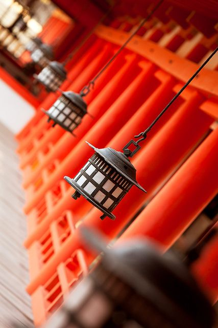Itsukushima Shrine lanterns : Miyajima, Hiroshima, Japan