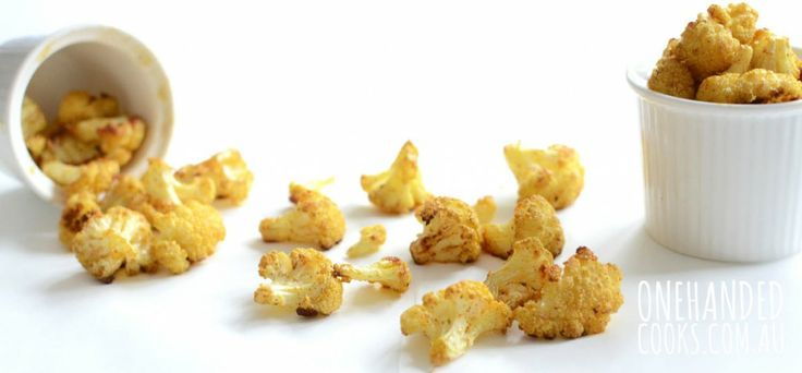 CAULIFLOWER POPCORN BITES: Crunchy, delicious little morsels of goodness that take no time to prepare. The kids will love to help you - perfect entertainment for the school holidays  #onehandedcooks