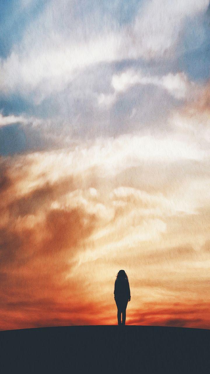 Alone Lost Explorer Sunset Girl Silhouette 720x1280 Wallpaper