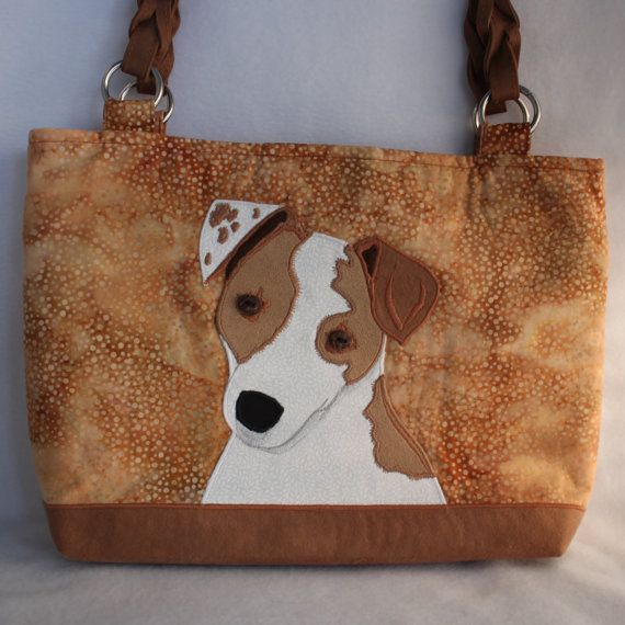 Jack Russell Terrier Cotton fabric Handmade Applique Dog Purse, Handbag, Wearable Art Accessory, Golden Brown two tone Tote