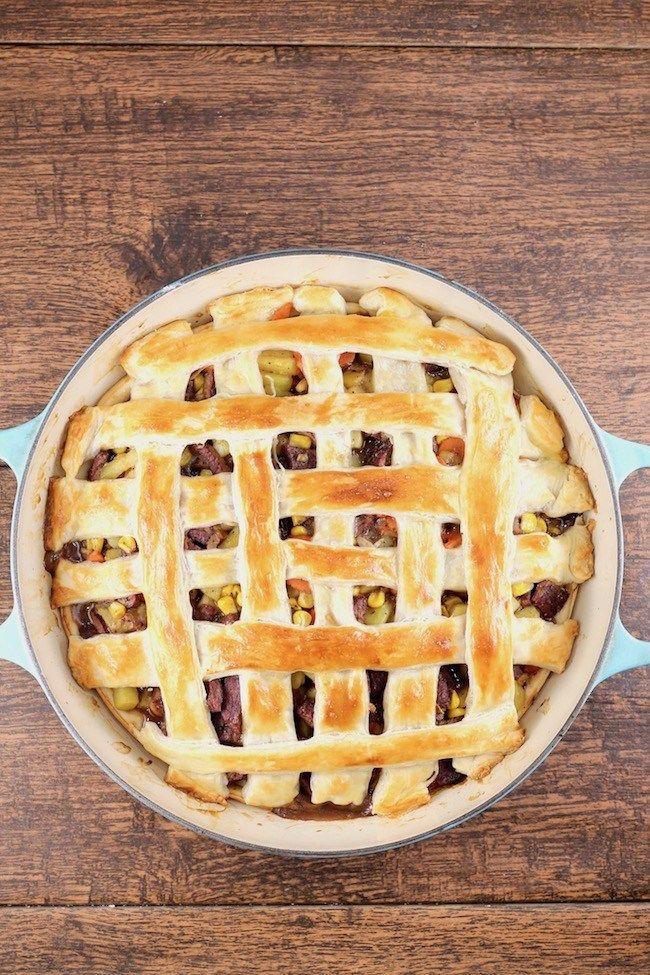 Venison Steak Pot Pie with lattice puff pastry crust ...
