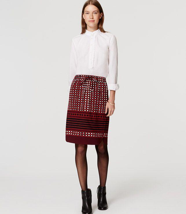 LOFT Petite Square Stripe Pull On Skirt