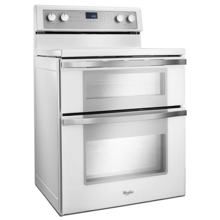 whirlpool 30in smooth surface 5element 42cu ft25cu ft with steam double oven convection electric range white ice wge755c0bh